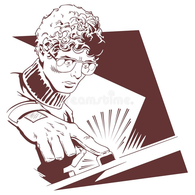 Man in glasses pushes button. Stock illustration. Stock illustration. Man in glasses pushes button royalty free illustration