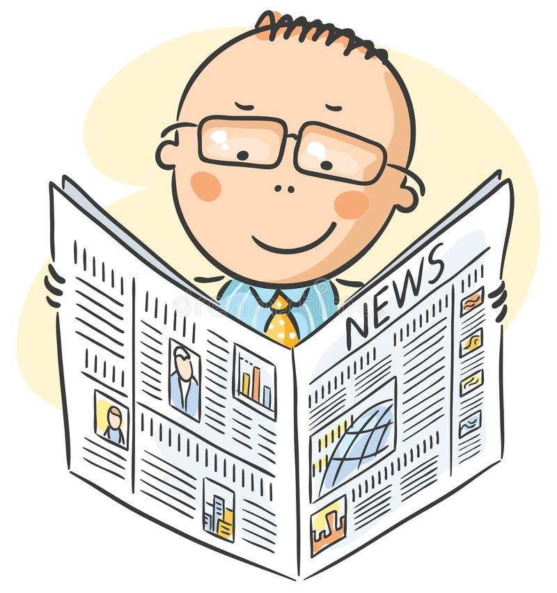 Man in glasses reading newspaper vector illustration