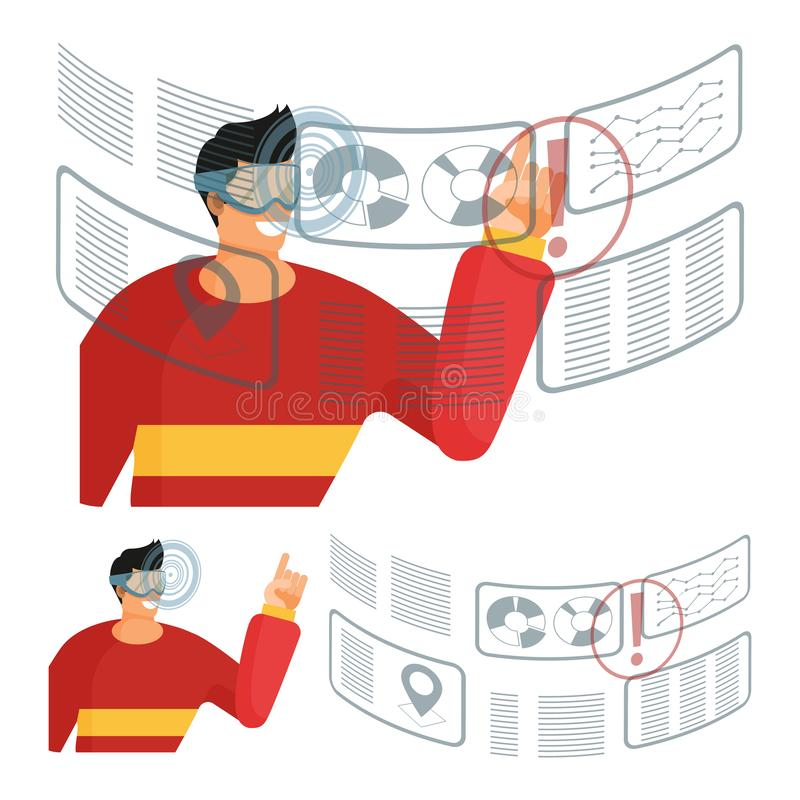 Man in glasses and a red sweater interacts with a data on futuristic transparent interactive screen. A set of isolated elements on a white background. Flat stock illustration