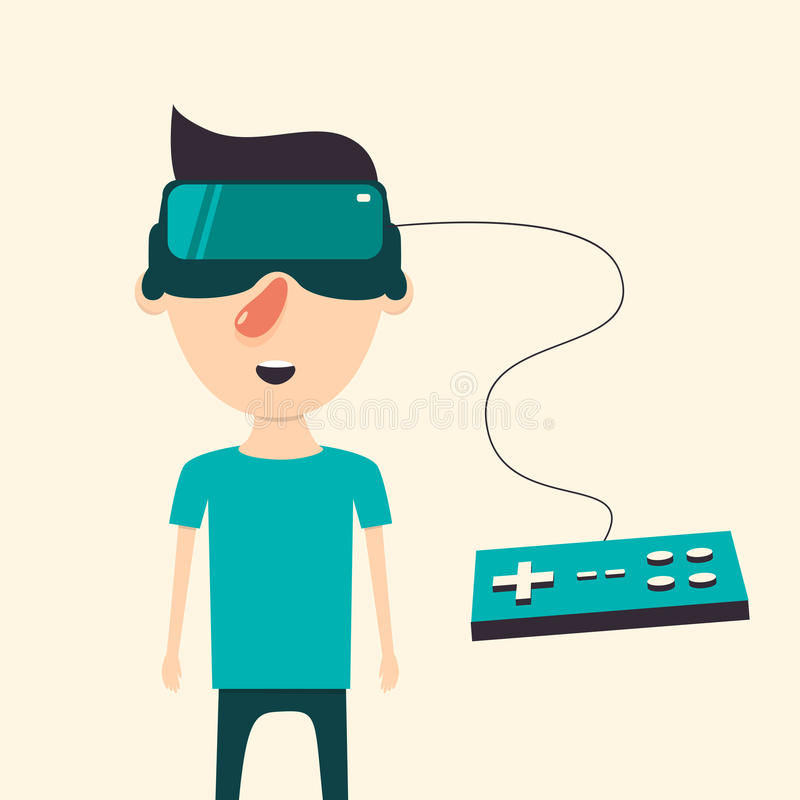 Man With Glasses Of Virtual Reality. Flat Vector ...