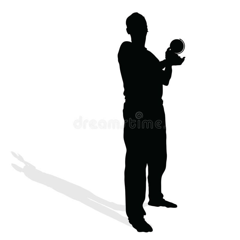 Man with globe in hand vector. Man with globe in hand black vector silhouette illustration vector illustration