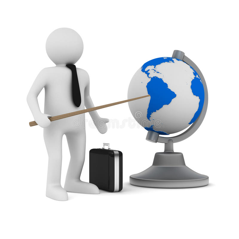 Man And Globe On White Background Stock Illustration Illustration Of Illustration Longitude 33673914