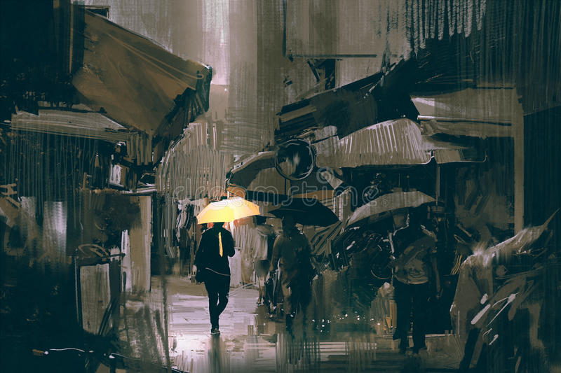 The man with glowing yellow umbrella walking in city vector illustration