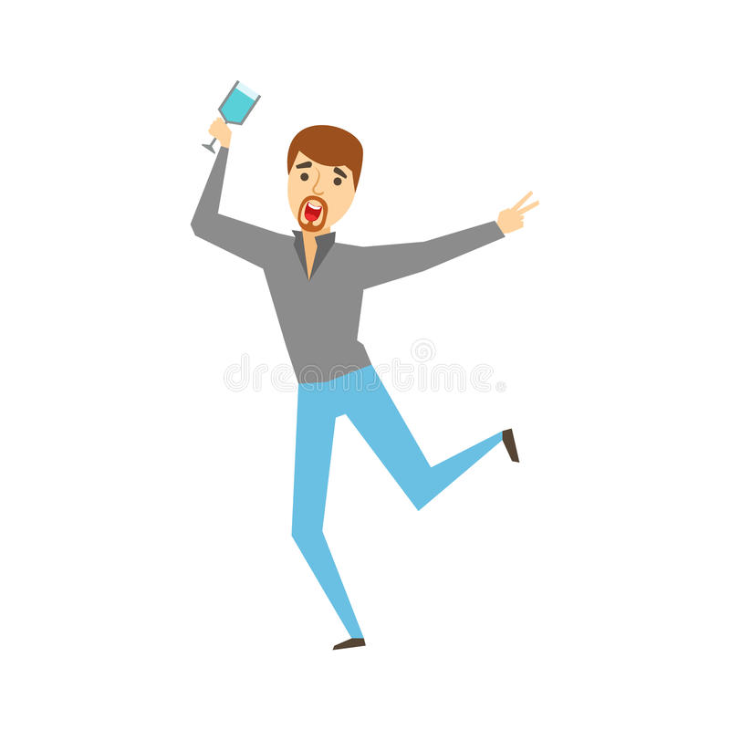 Man With Goatee Dancing With Wine Glass, Part Of Funny Drunk People Having Fun At The Party Series. Simple Flat Cartoon Character Smiling And Having Good Time vector illustration