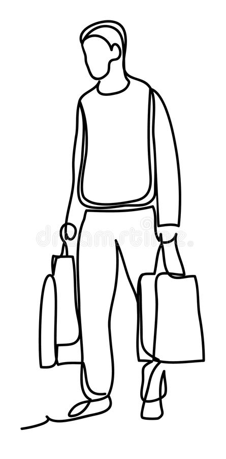 A man goes shopping. Continuous line drawing. Isolated on the white background. Vector illustration monochrome, drawing by lines vector illustration
