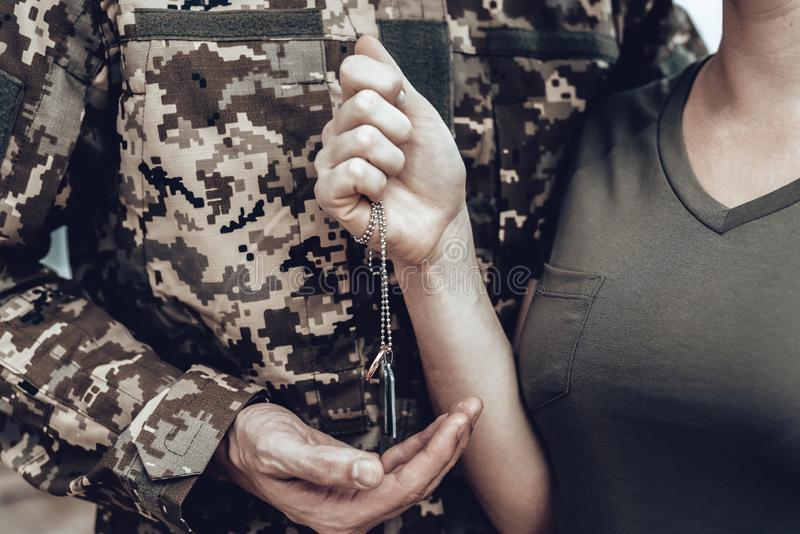 A Man Goes To Military Service. Family Goodbye. stock photos