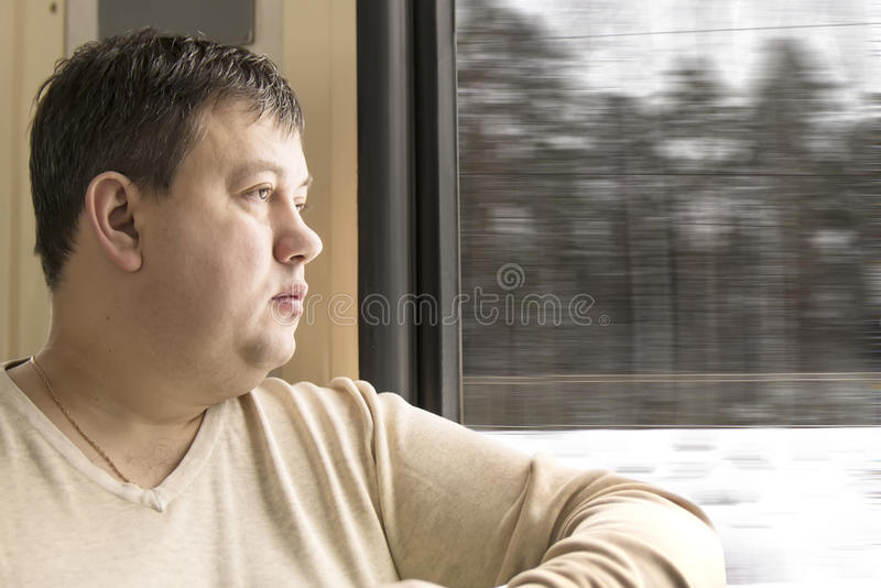 The man goes by the train royalty free stock image