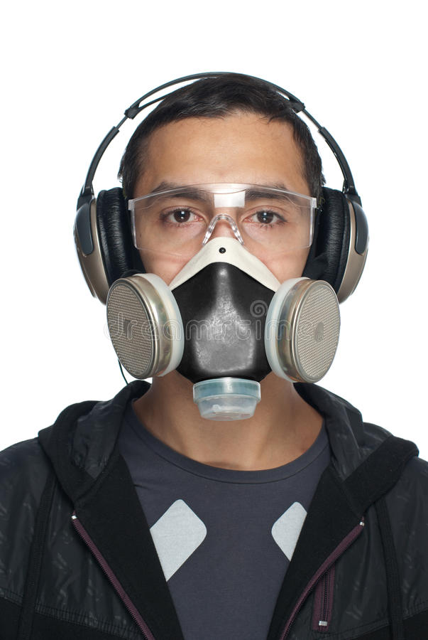 Download Man In Goggles, Respirator And Headphones Stock Image - Image: 17011627