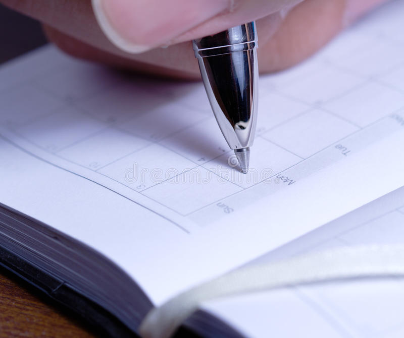 Man is going to writting diary royalty free stock photography