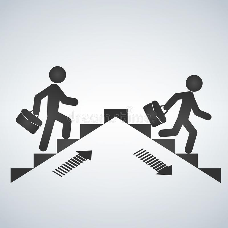 Free Man Going Up The Stairs, Man Going Down Staircase Symbol. Vector Illustration. Stock Photo - 108266100