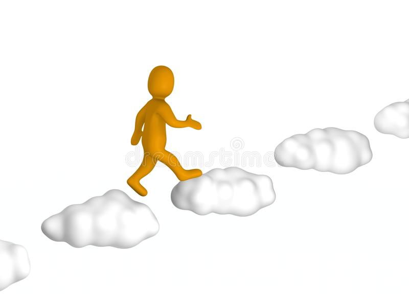 Download Man going up to the sky stock illustration. Image of blue - 19098197