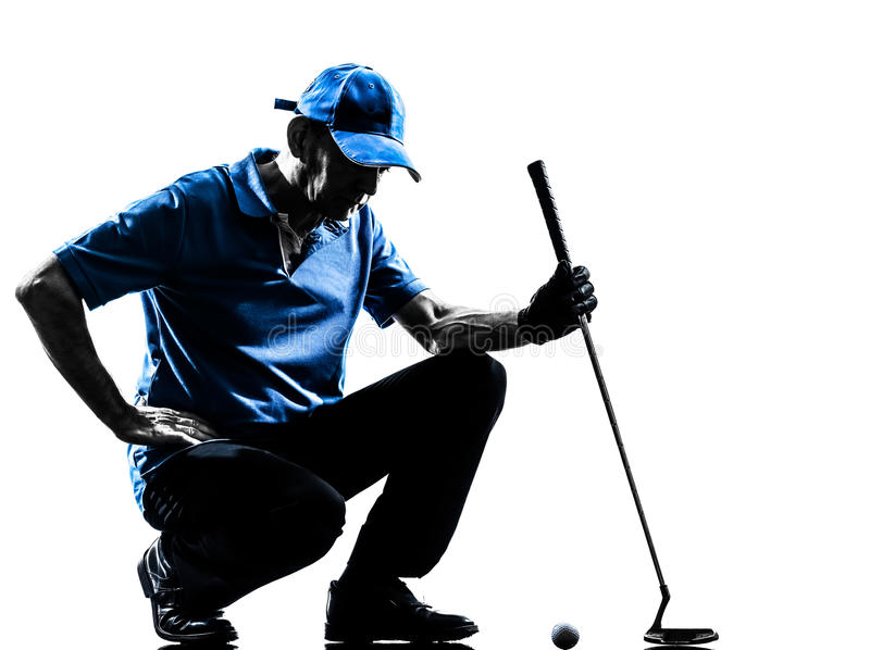 Man golfer golfing crouching silhouette. One man golfer golfing crouching in silhouette studio isolated on white background stock photo