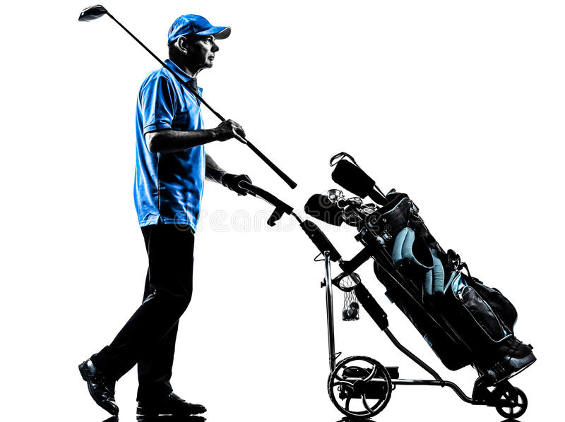 Man golfer golfing golf bag silhouette. One man golfer golfing golf bag in silhouette studio isolated on white background stock images