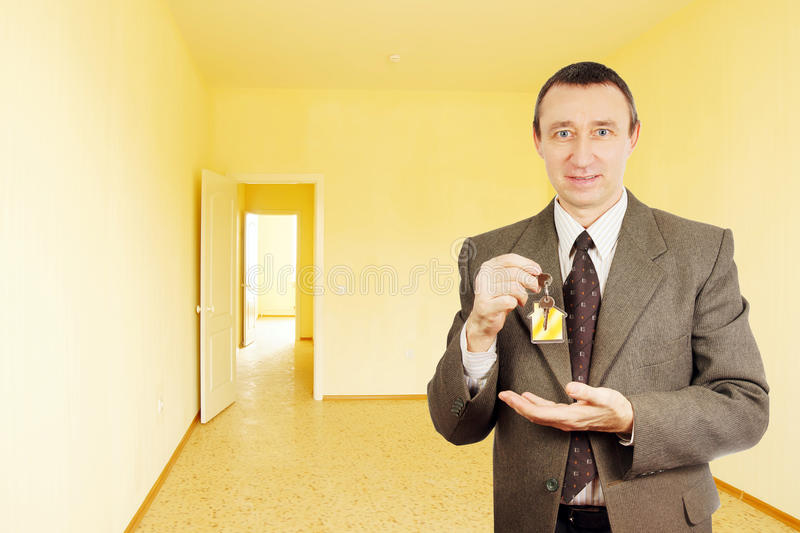 Man Got A Key Of New Apartment Royalty Free Stock Image