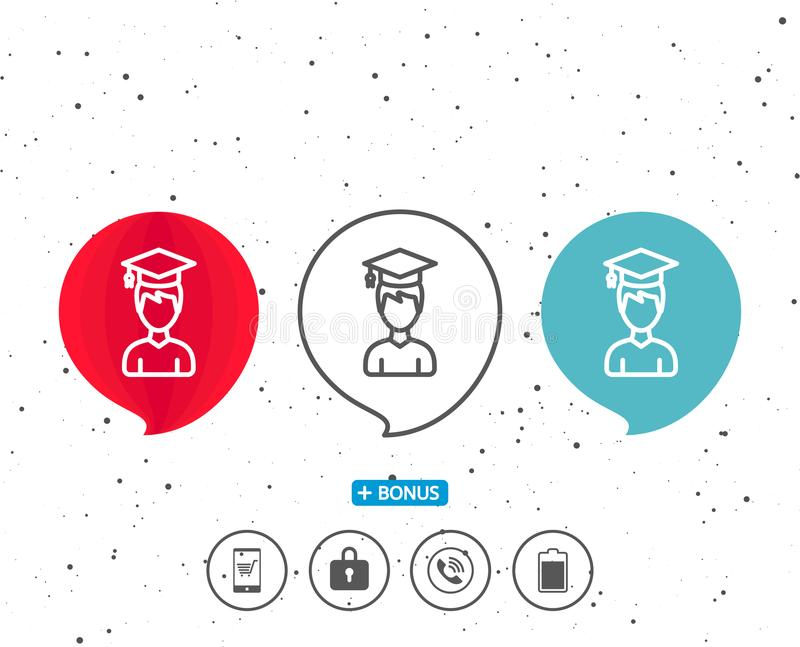 Man in Graduation cap line icon. Education. royalty free illustration