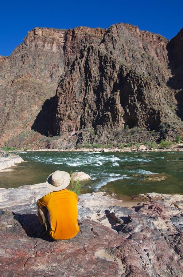 Man At Grand Canyon Bottom Royalty Free Stock Photos