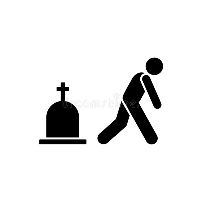 Man graves funeral sorrow icon. Element of pictogram death illustration.  vector illustration