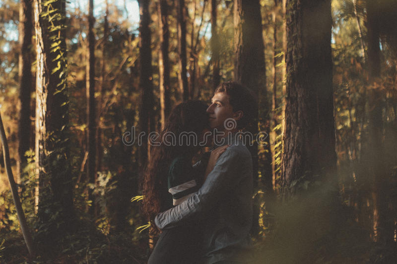 Man In Gray Jacket Hugging A Woman In Green And White Dress Surrounded By Brown Trunk Tree Free Public Domain Cc0 Image