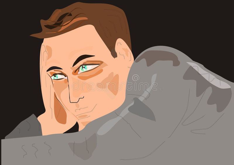 Download Man in a gray sweater stock vector. Illustration of gray - 7697032