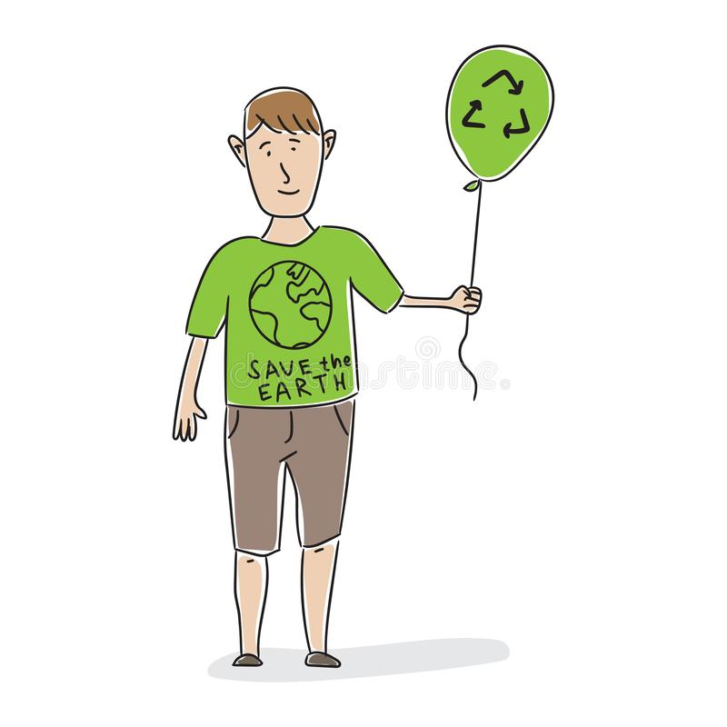 Man with green air balloon and recycle sign royalty free illustration