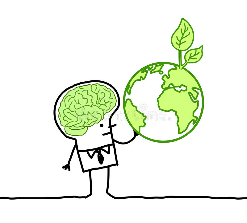 Man With Green Brain & Green Earth Stock Image