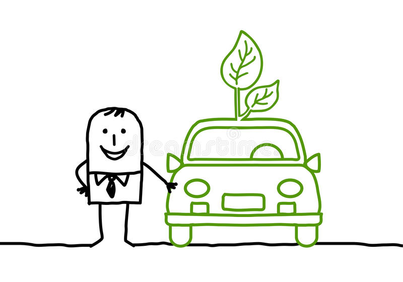 Man with green car royalty free illustration