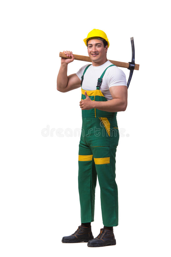 The man in green coveralls with axe isolated on white. Man in green coveralls with axe isolated on white royalty free stock images