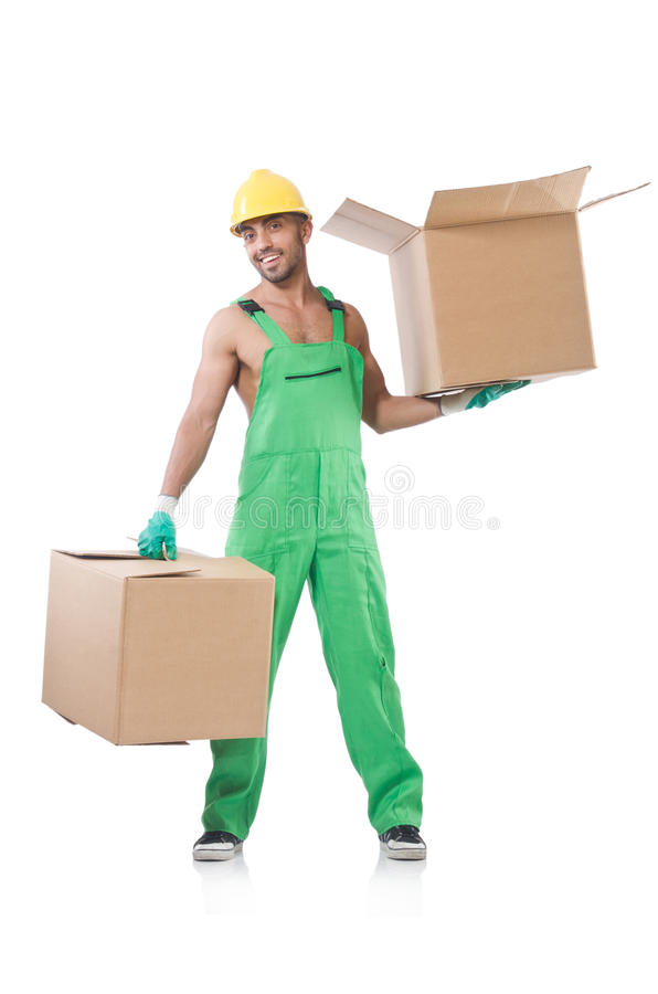 Download Man in green coveralls stock photo. Image of builder - 33494270