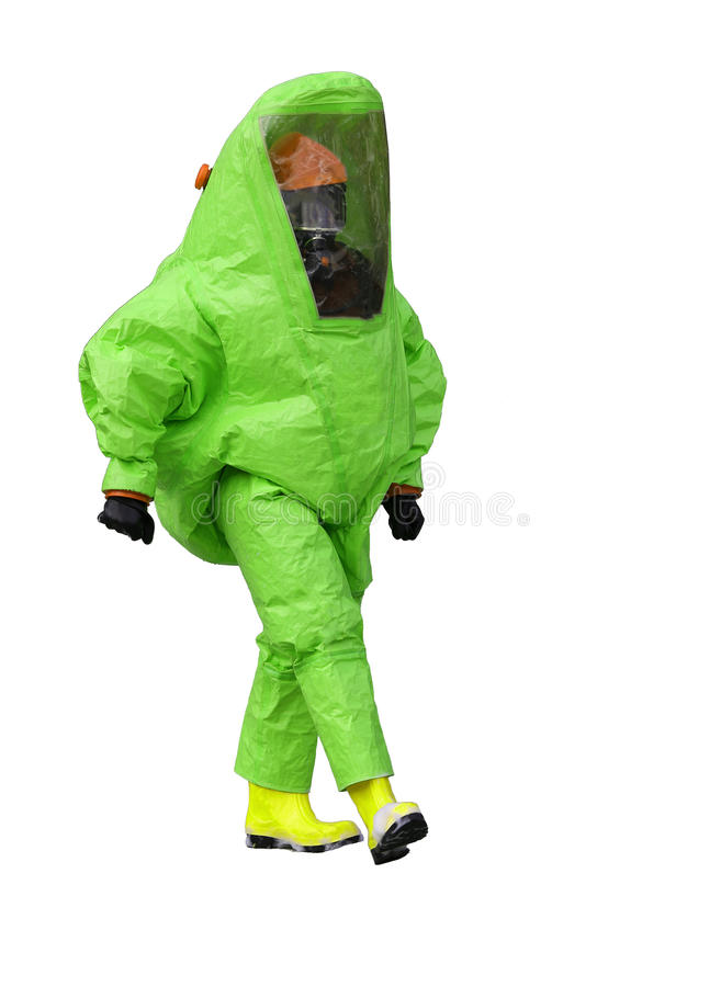 man with green protective gear against biological risk royalty free stock photography