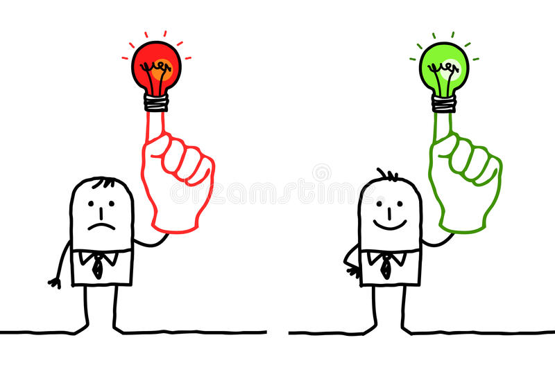 Man with green or red light on finger vector illustration