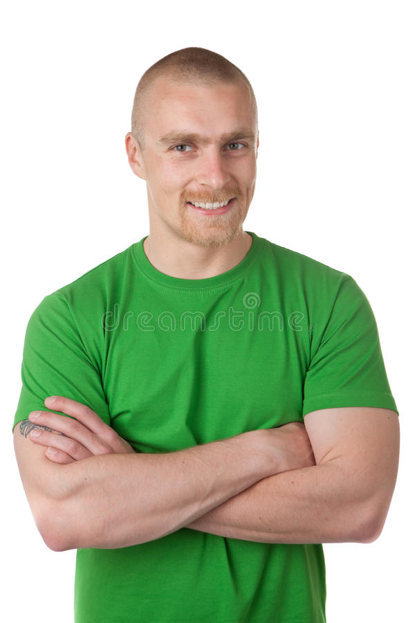 Man in green shirt stock photos