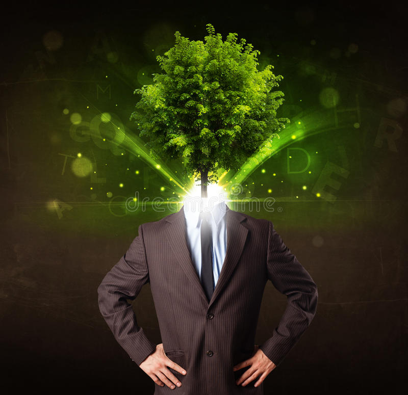 Man with green tree head concept. On brown background vector illustration