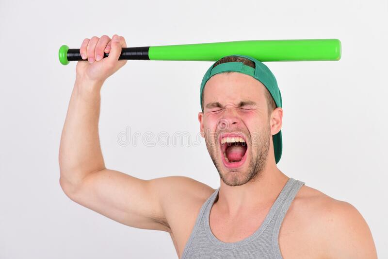 Man in green on white background. Sports and american game royalty free stock photography