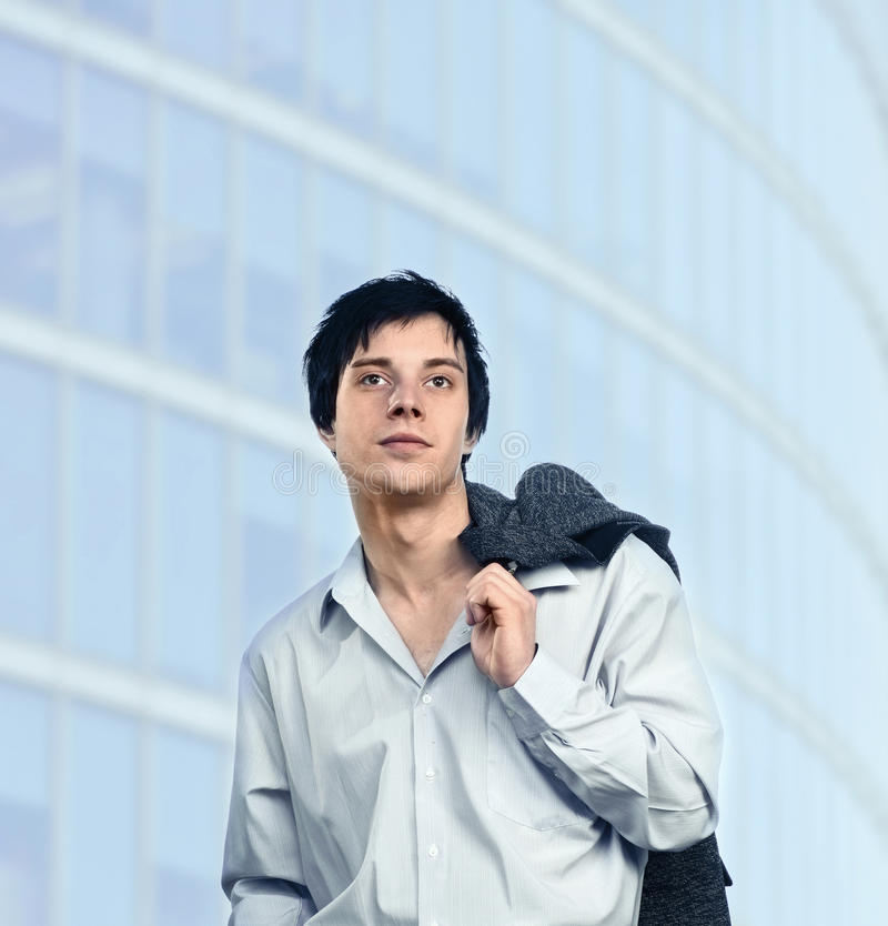 Man with grey jacket. stock photography
