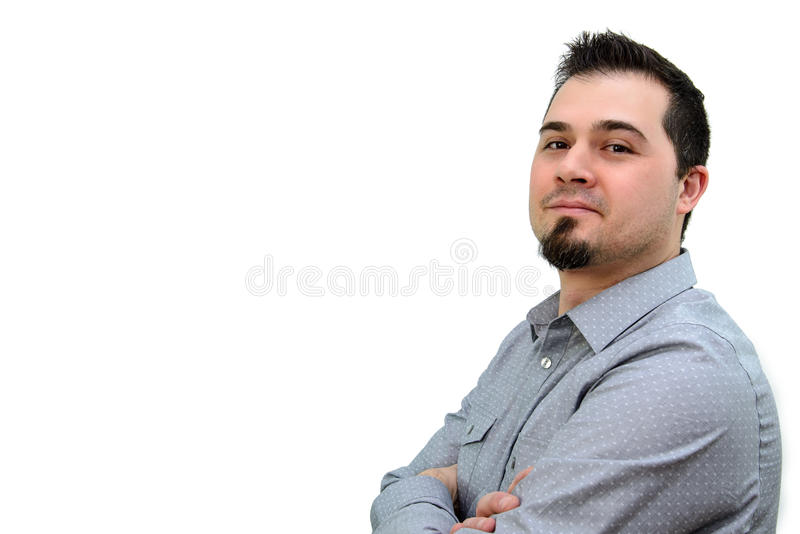 Man in Grey Shiirt Crossing arms and Smiling Copyspace royalty free stock images