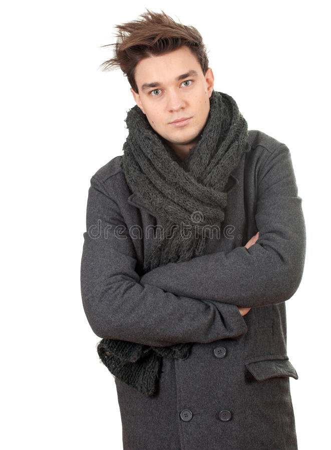 Download Man In Grey Winter Coat And Scarf Stock Photo - Image: 17716548