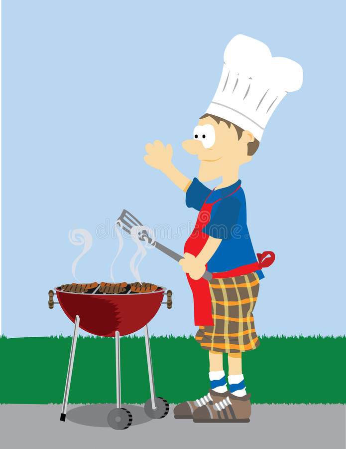 Man grills food outside. Cartoon Male dressed in grilling attire cooking meat outdoors