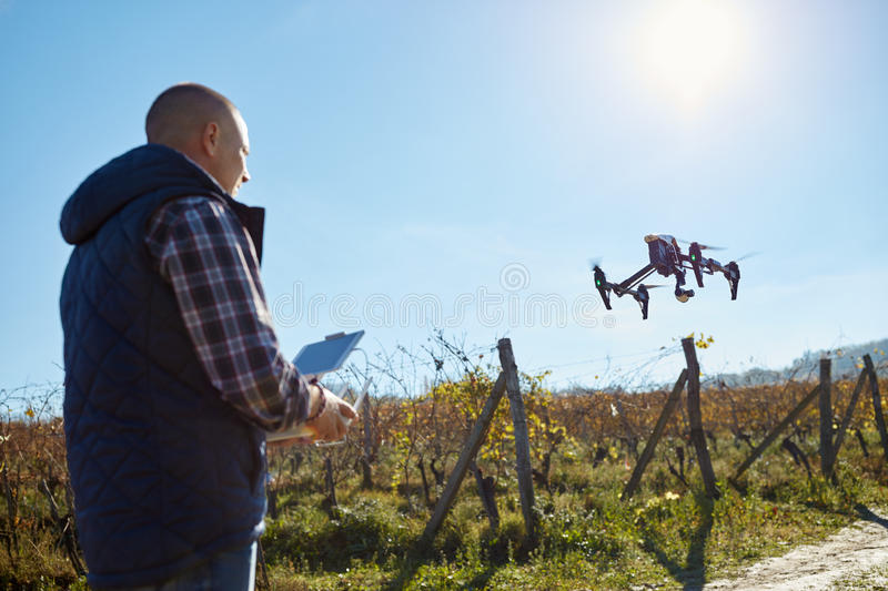 Man from ground control drone royalty free stock photo