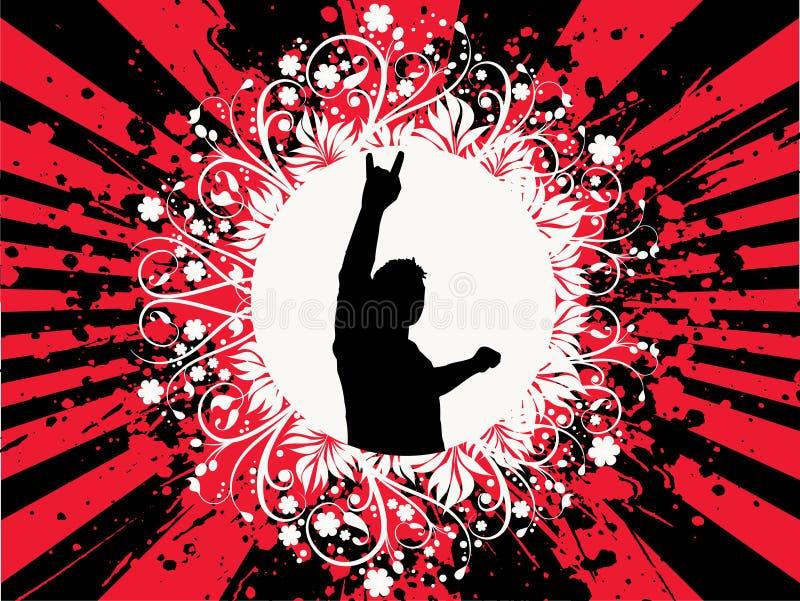Man on grunge background royalty free illustration