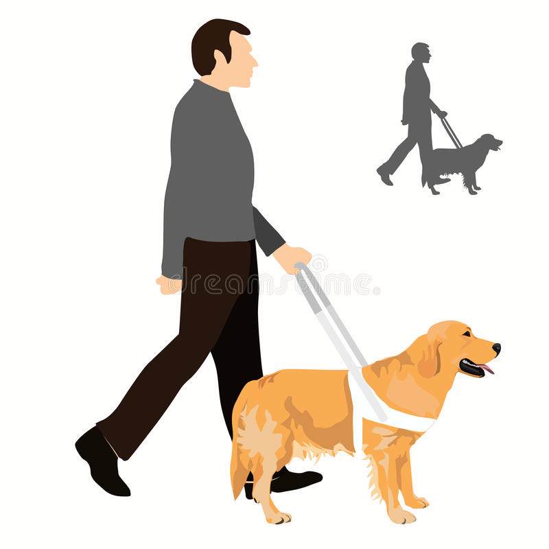 Man With Guide Dog Vector Illustration. Stock Vector - Illustration