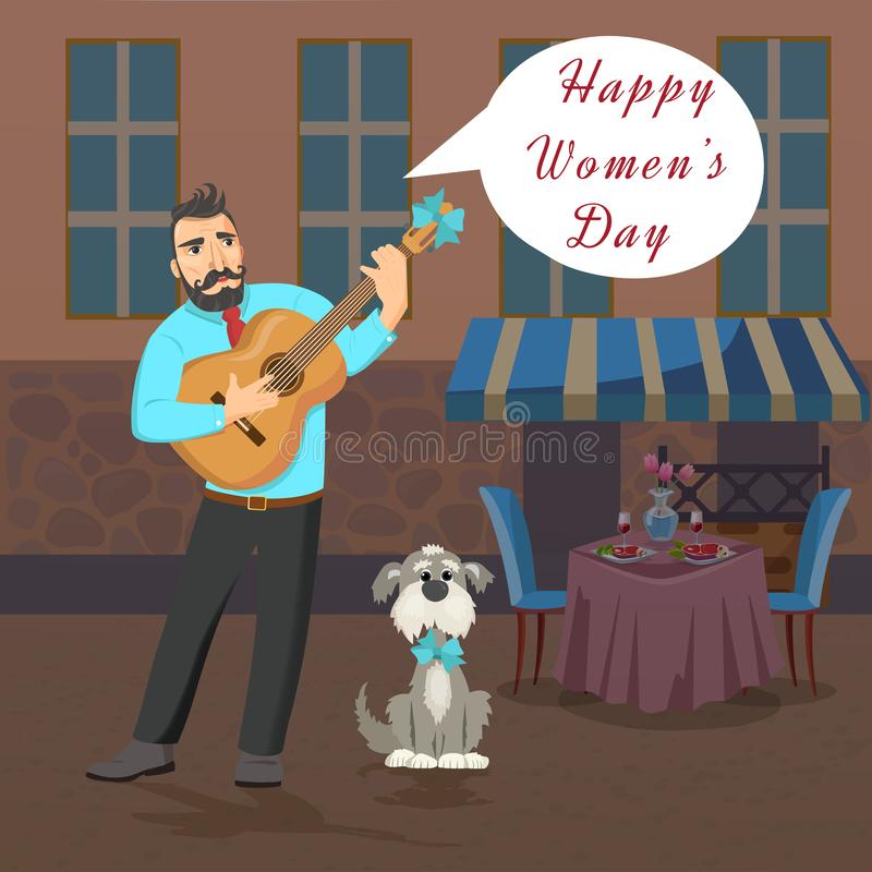 Man with guitar stands near the restaurant and sings about Womans Day. royalty free illustration