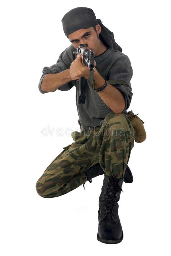 Download Man with gun stock image. Image of boot, gangster, military - 6458981
