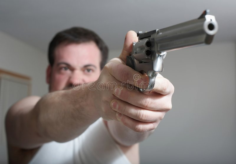 Man with gun royalty free stock images