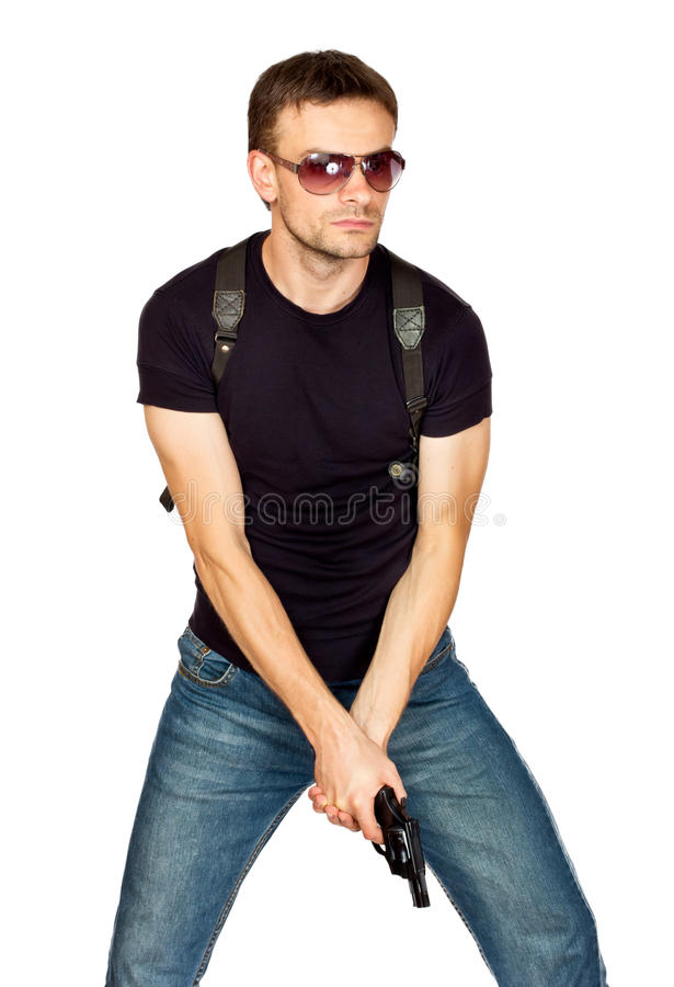 Download Man With A Gun In The Holster Royalty Free Stock Images - Image: 21033939