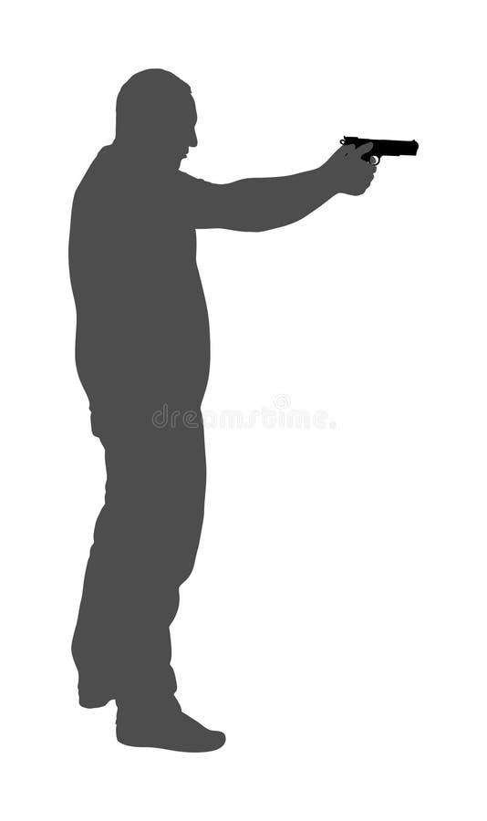 Man with gun  silhouette illustration. Hunter with pistol shooting in shot.  Public crime scene, gunfight battle. Policeman royalty free illustration