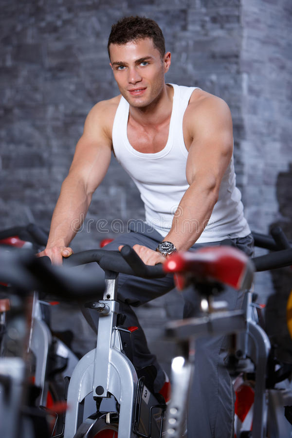 Download Man at the gym stock image. Image of smile, equipment - 14855105