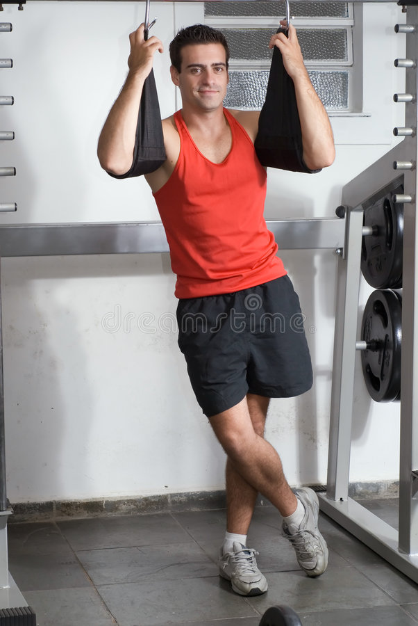 Download Man at the Gym stock photo. Image of relaxed, weight, focused - 5125244