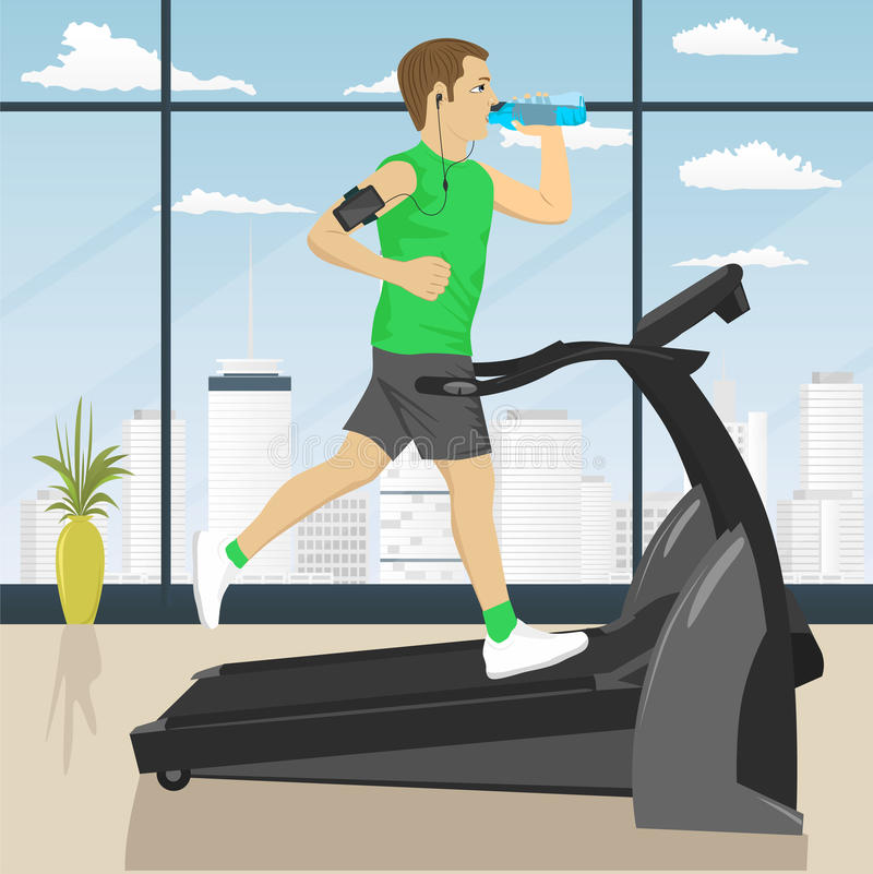 Man at gym doing exercise on the treadmill with smartphone armband drinking water. Man at the gym doing exercise on the treadmill with smartphone armband vector illustration