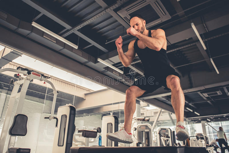Man at the gym stock image