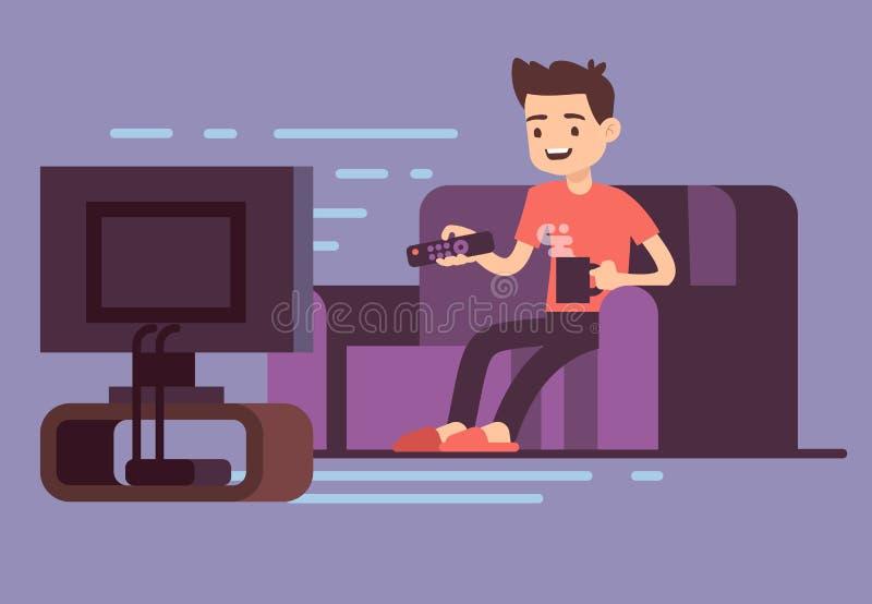 Man hållande ögonen på TV och drickakaffe på soffan i inre vektorillustration för hem- rum royaltyfri illustrationer